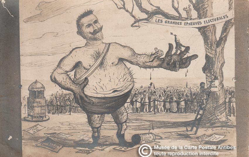 Carte postale illustrée représentant le pouvoir de broyer d'une main.