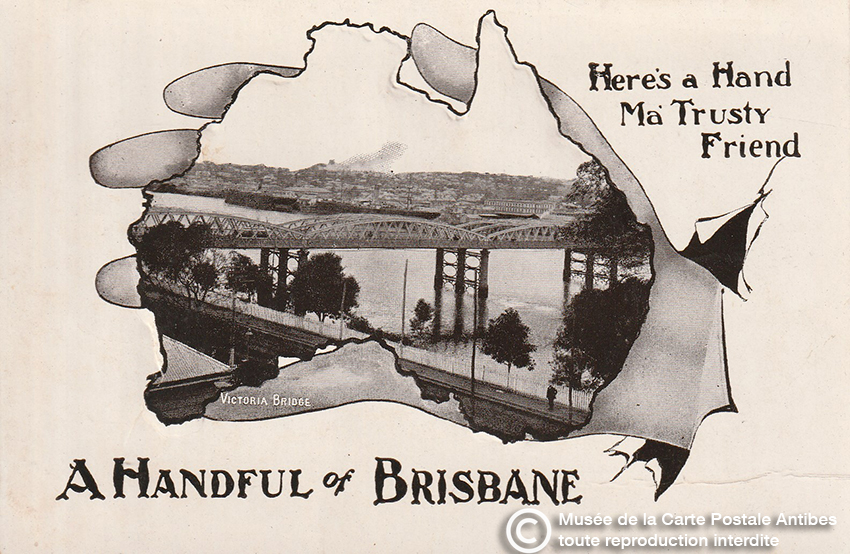 Carte postale poignée de main de Brisbane.