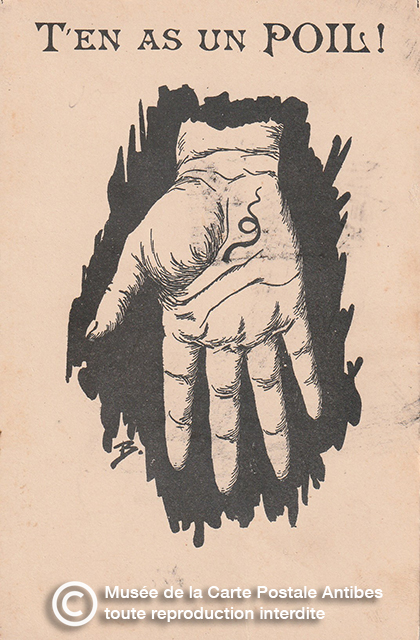 """Carte postale illustrant l'expression """"avoir un poil dans la main""""."""