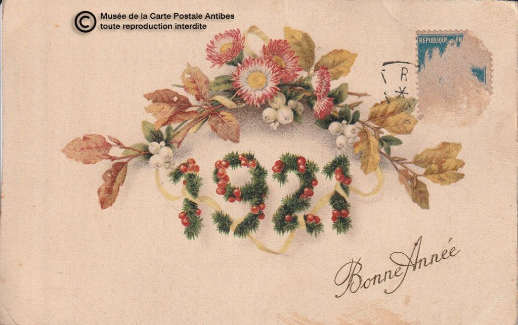 Carte postale ancienne de bonne année 1921.