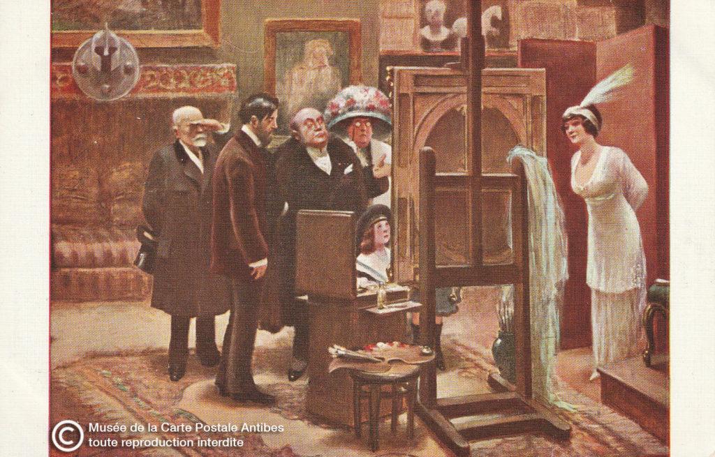 Carte postale ancienne de début 1900, ici l'avis de la famille sur une peinture, par Albert GUILLAUME.