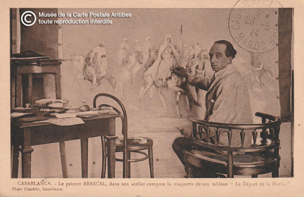 Carte postale ancienne de début 1900, représentant le peintre ABASCAL dans son atelier à Casablanca.