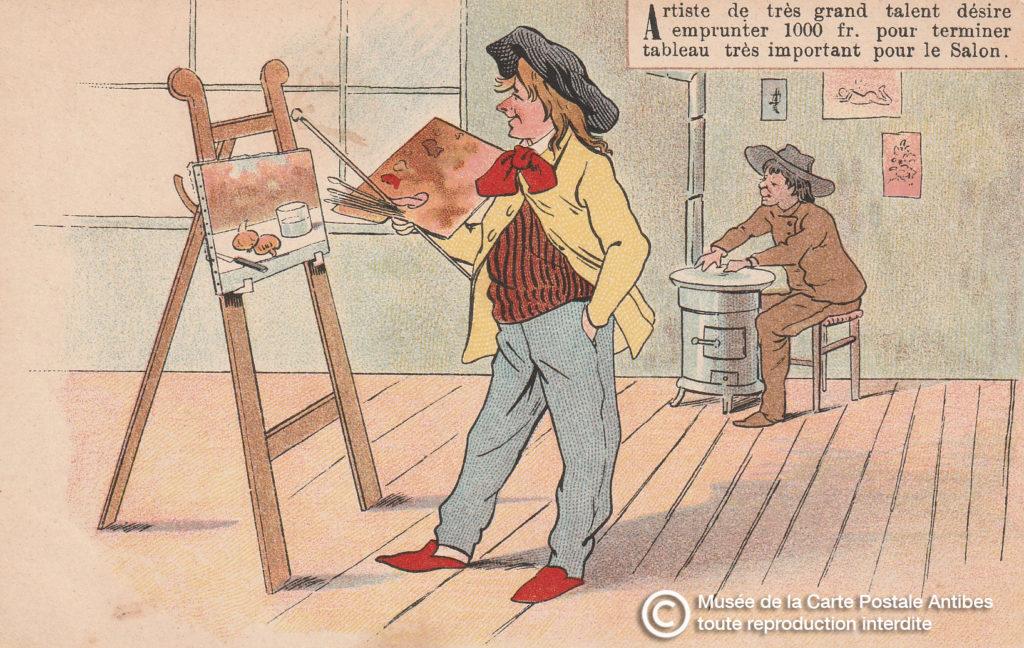 Carte postale illustrée ancienne d'avant 1904, représentant un artiste peintre.
