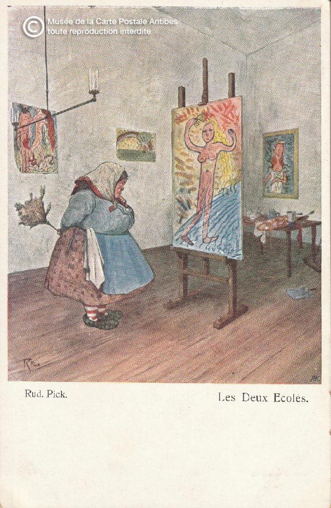 Carte postale ancienne représentant les musées, ici illustration d'une femme de ménage dans une galerie d'art.