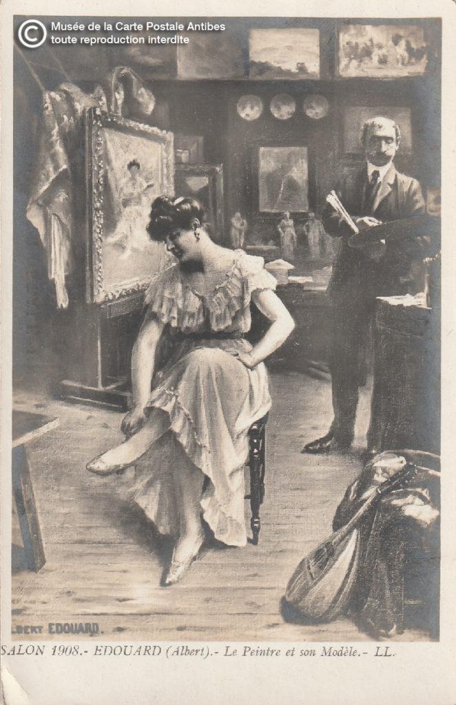 Carte postale ancienne représentant les musées, ici un peintre et son modèle..