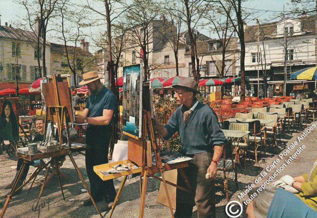 Carte postale ancienne de début 1900, représentant les peintres de la place du Tertre à Paris.