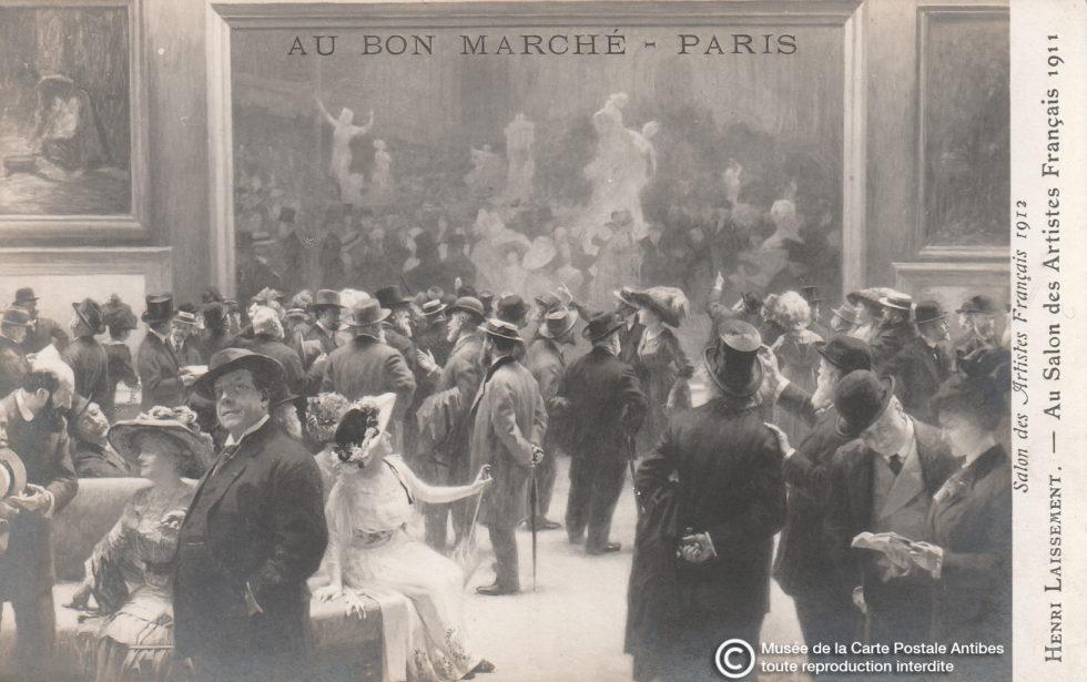 Carte postale ancienne représentant les musées début 1900, ici le Salon des Artistes Français par Henri LAISSEMENT.