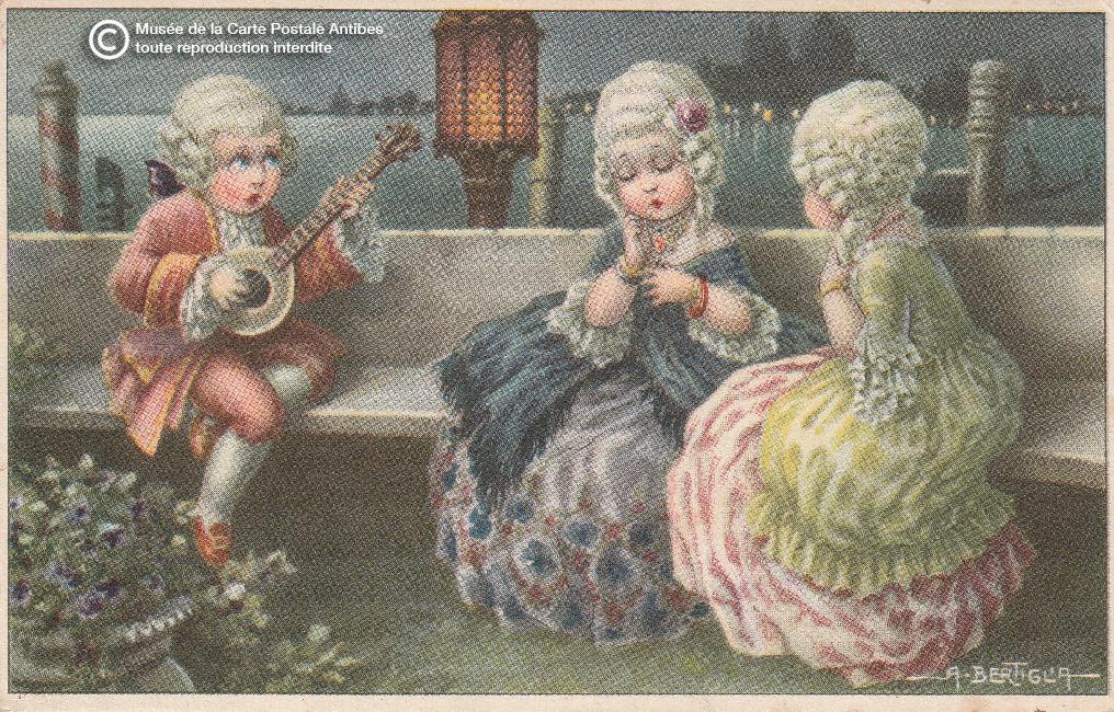 Carte postale ancienne illustrée représentant une sérénade à Venise.