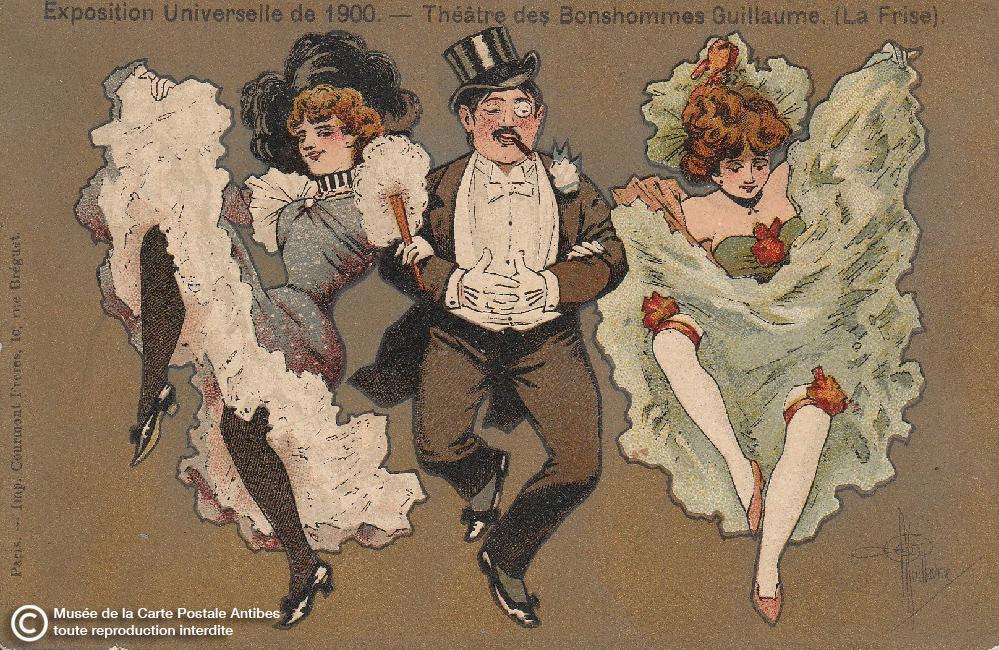 Carte postale ancienne illustrant le french cancan entre un homme et 2 femmes en 1900.