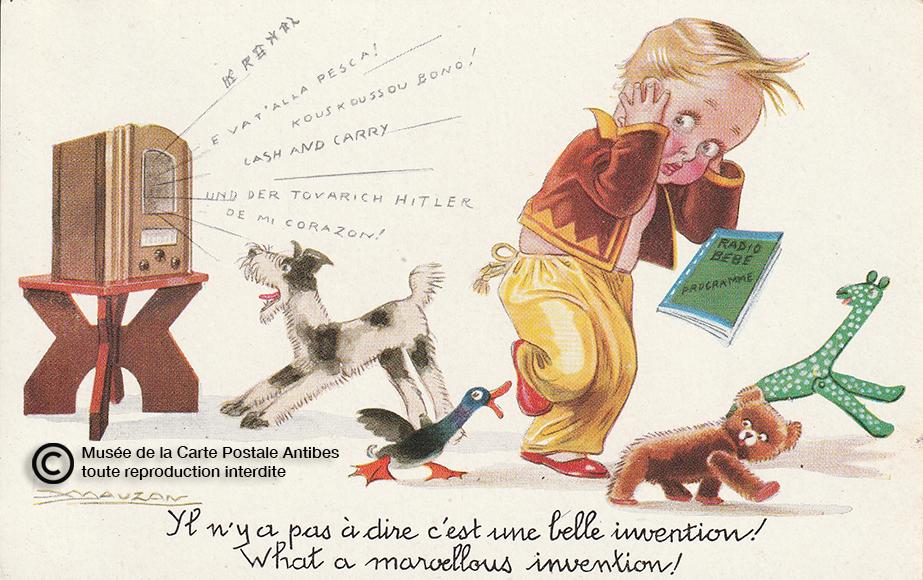 Carte postale ancienne et illustrée, représentant l'invention de la radio.